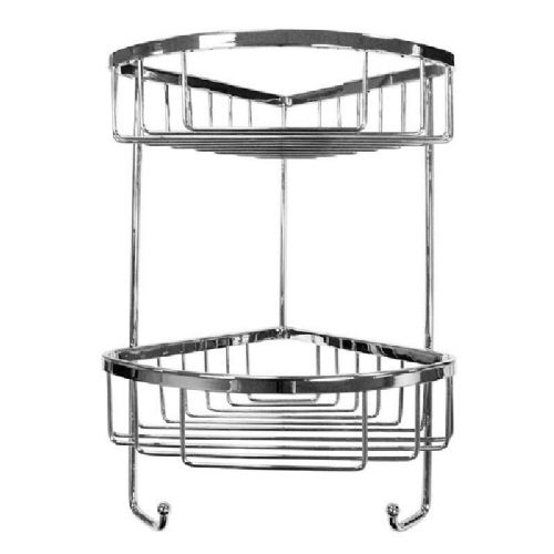 Roman Double Corner Shower Basket With Hooks - Chrome